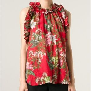 Étoile Isabel Marant Red Floral Ruffle Blouse SZ 4